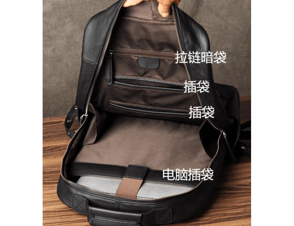 Чёрный кожаный рюкзак большой Bexhill BX-883A - Фото № 8