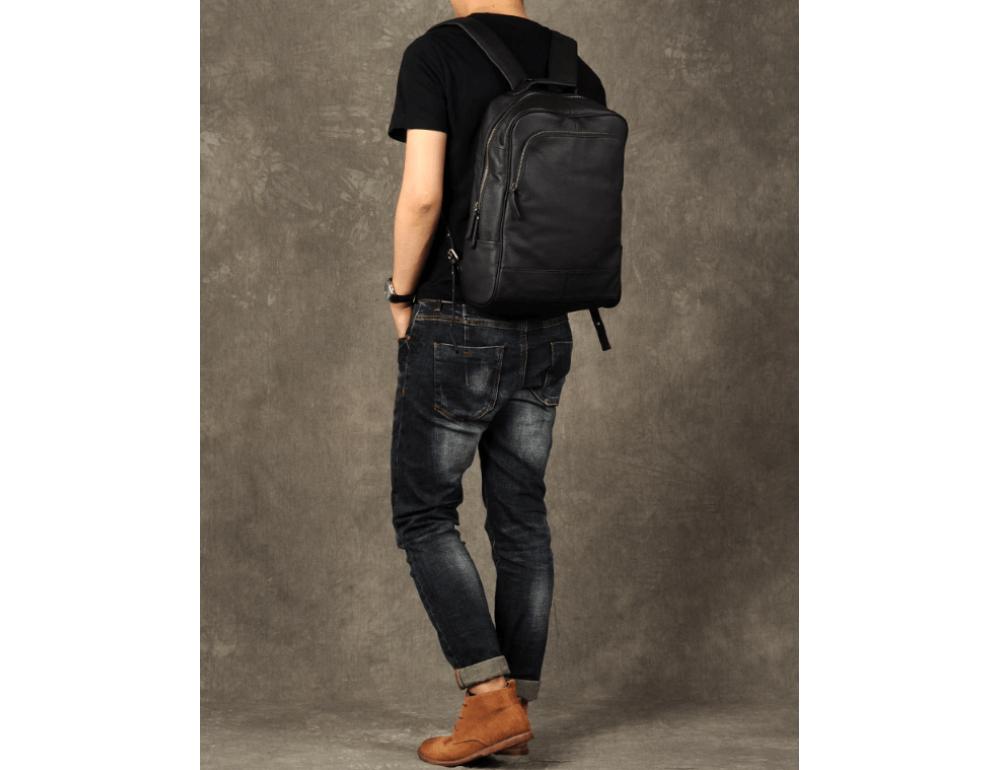 Чёрный кожаный рюкзак большой Bexhill BX-883A - Фото № 9