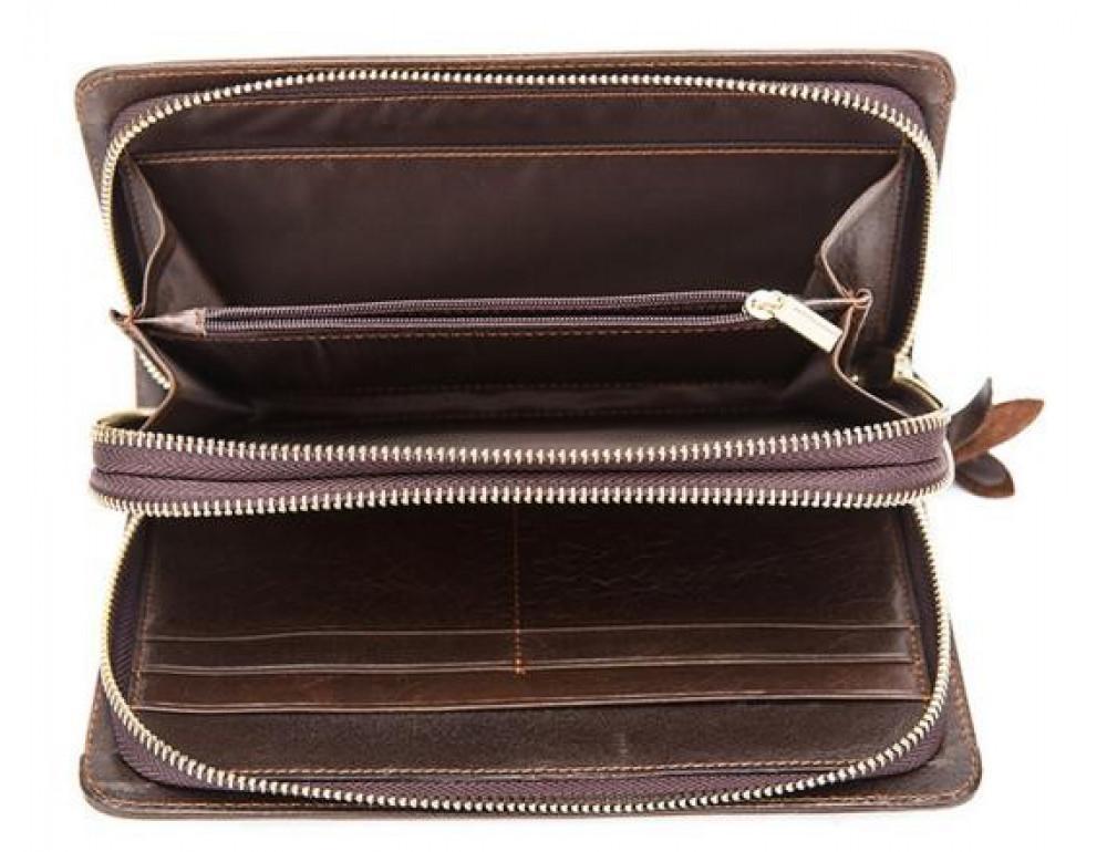 Мужской кожаный клатч Bexhill Bx9069-1C тёмно-коричневый - Фото № 3