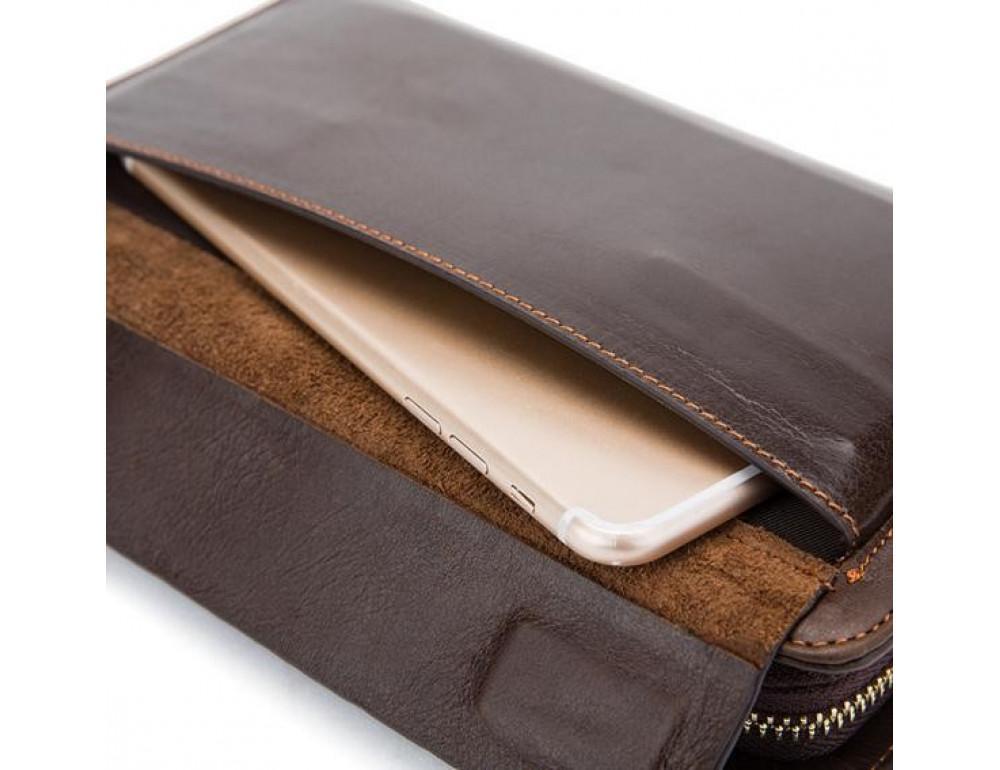 Мужской кожаный клатч Bexhill Bx9069-1C тёмно-коричневый - Фото № 4