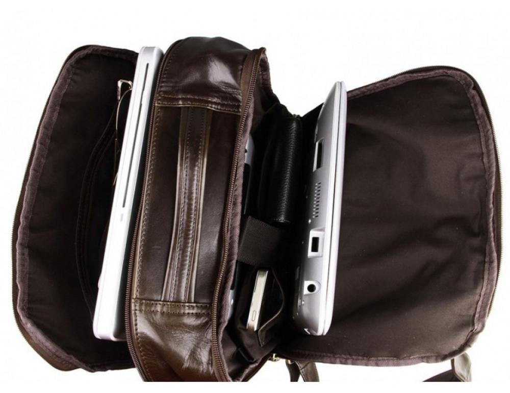 Мужской кожаный рюкзак TIDING BAG 7280C коричневый - Фото № 2