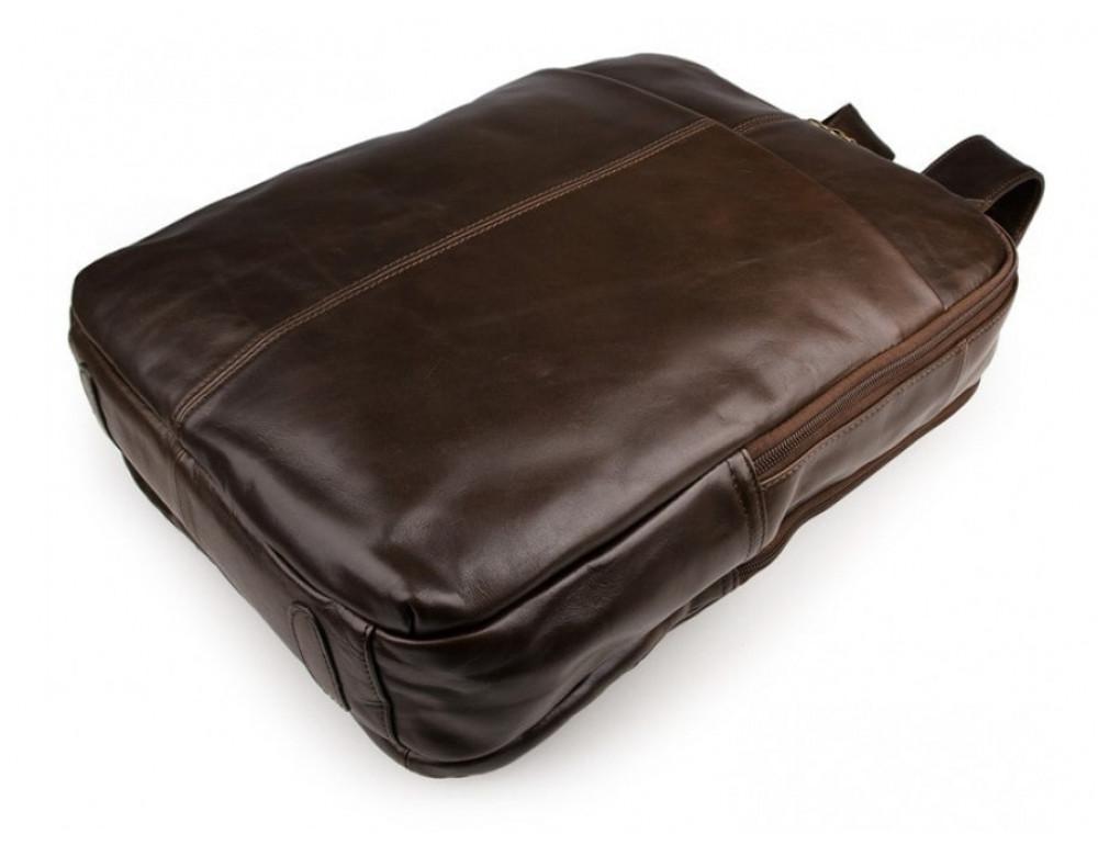 Мужской кожаный рюкзак TIDING BAG 7280C коричневый - Фото № 4
