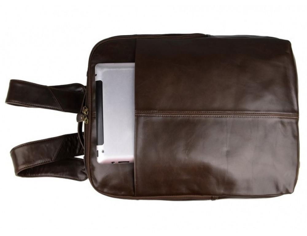 Мужской кожаный рюкзак TIDING BAG 7280C коричневый - Фото № 7