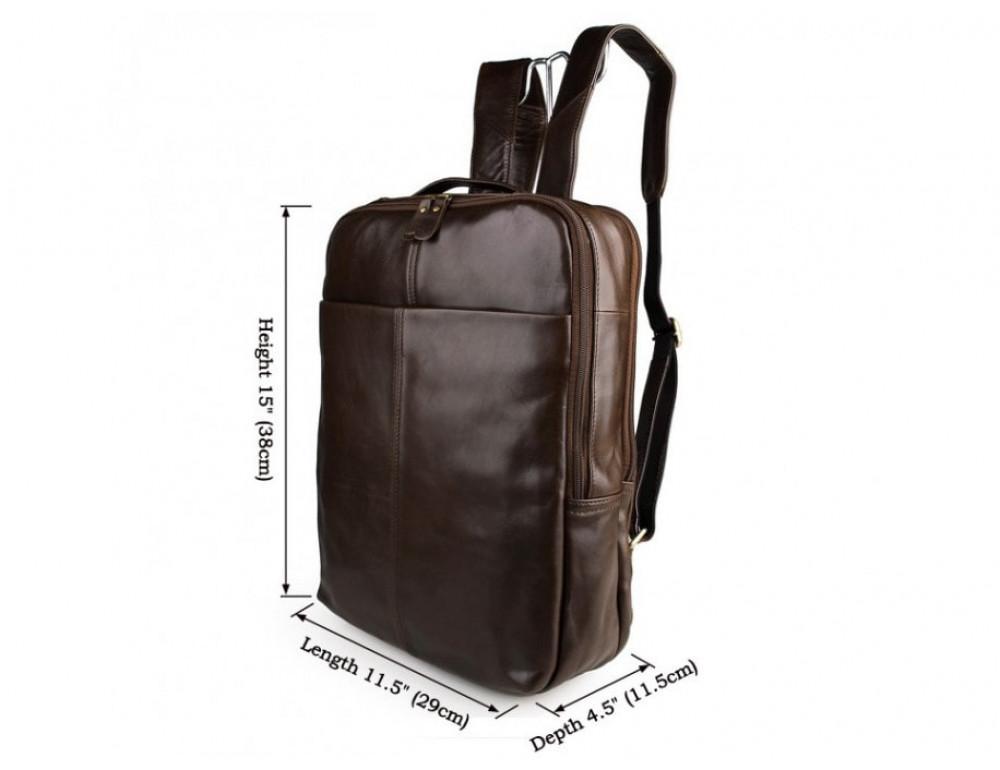 Мужской кожаный рюкзак TIDING BAG 7280C коричневый - Фото № 9