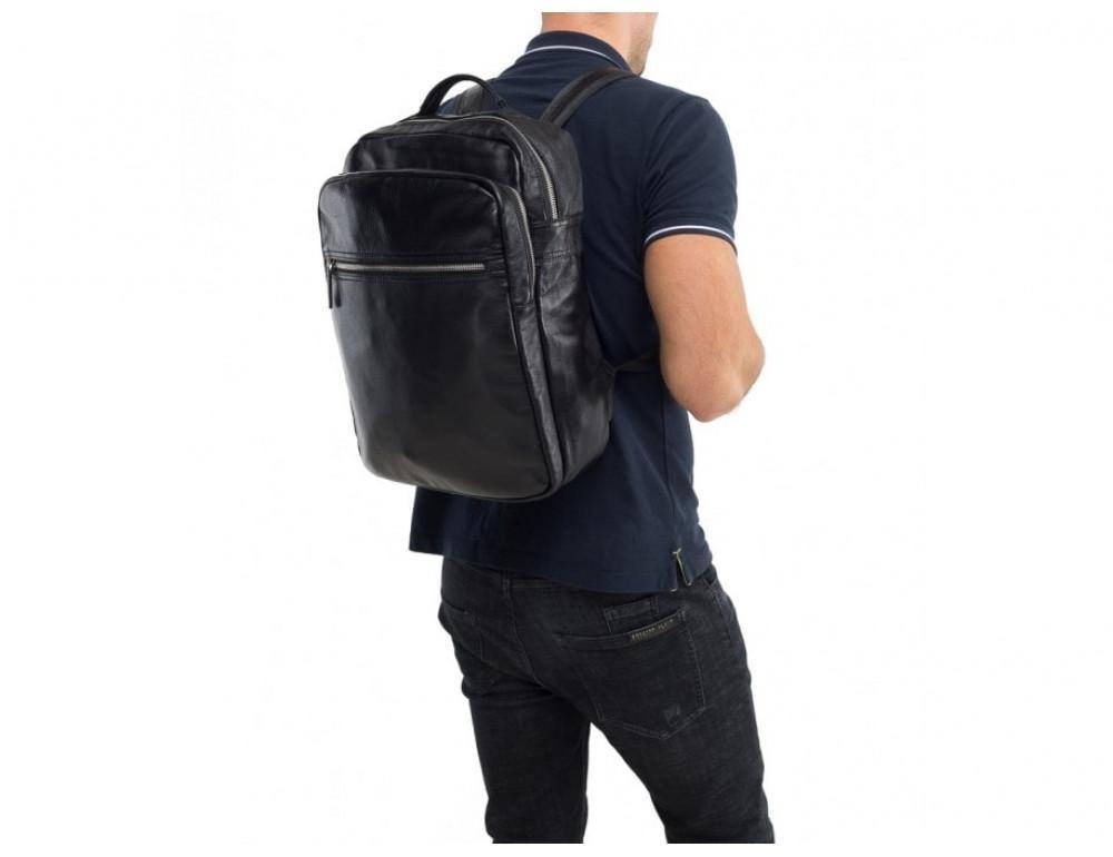 Мужской кожаный рюкзак TIDING BAG M864A чёрный - Фото № 2