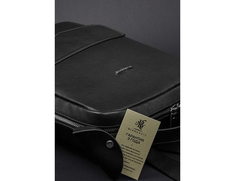 Кожаный женский рюкзак чёрного цвета Blanknote НУАР BN-BAG-19-NOIR - Фото № 5
