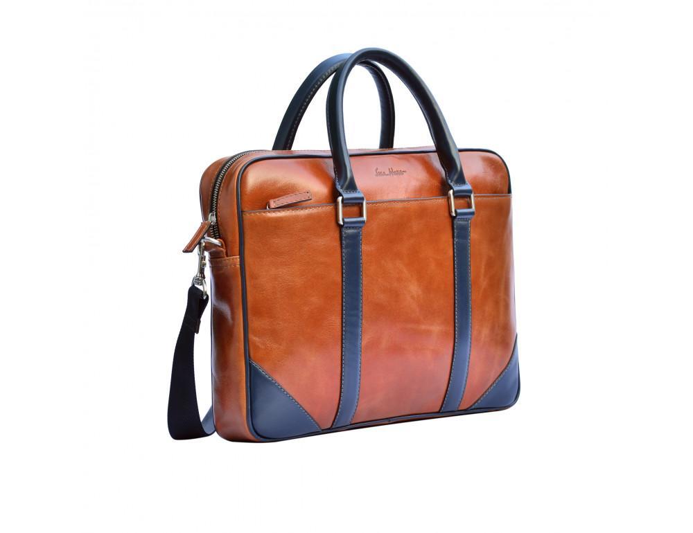 Мужской кожаный портфель Issa Hara B14 04-03 - Фото № 3