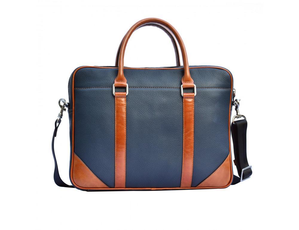 Кожаная сумка под ноутбук Issa Hara B14 13-04 Синий с коричневым - Фото № 2
