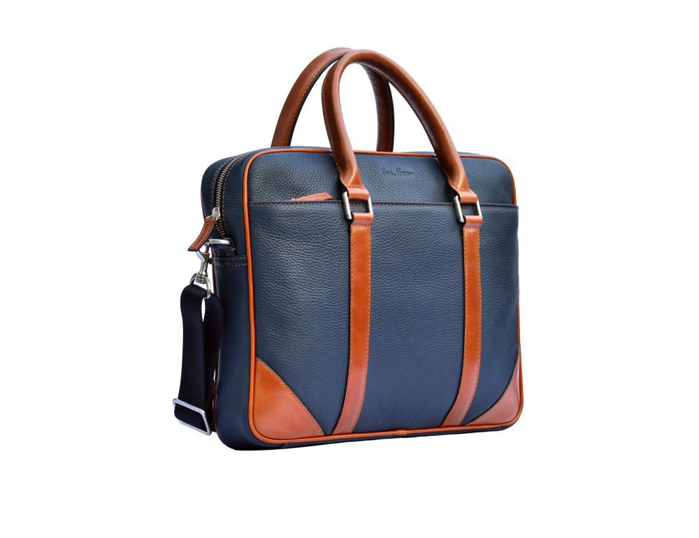 Кожаная сумка под ноутбук Issa Hara B14 13-04 Синий с коричневым - Фото № 3