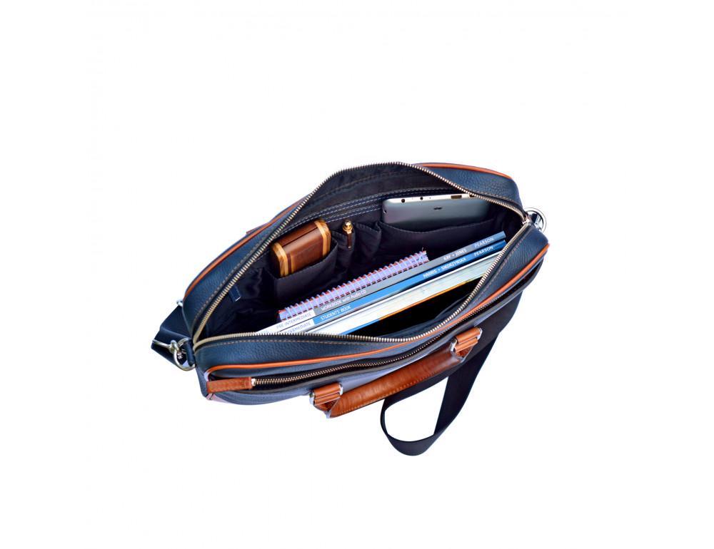 Кожаная сумка под ноутбук Issa Hara B14 13-04 Синий с коричневым - Фото № 4