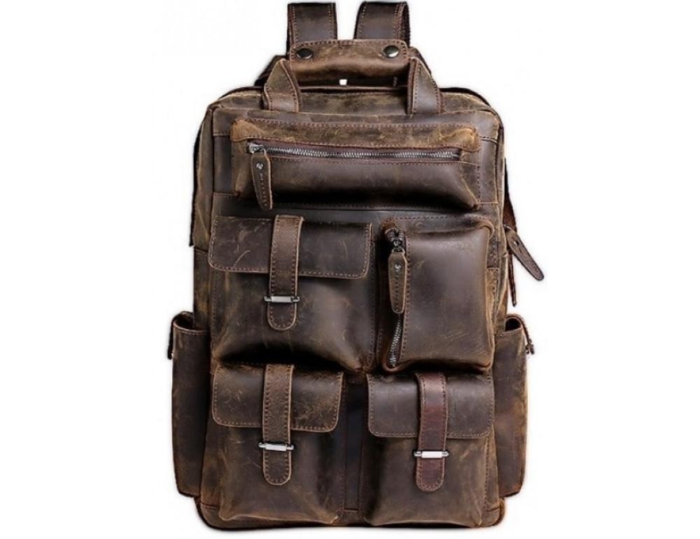 Мужской добротный рюкзак Tiding Bag t3081DB коричневый - Фото № 1