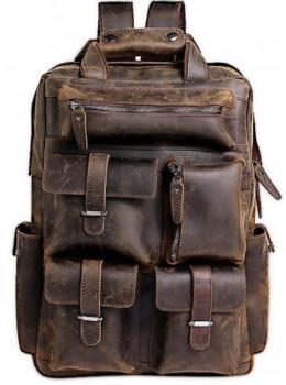 Мужской добротный рюкзак Tiding Bag t3081DB коричневый