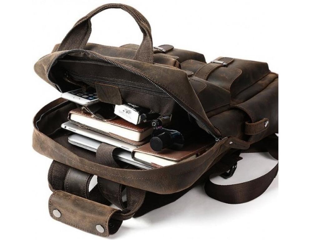 Мужской добротный рюкзак Tiding Bag t3081DB коричневый - Фото № 2