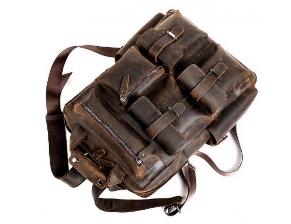 Мужской добротный рюкзак Tiding Bag t3081DB коричневый - Фото № 5