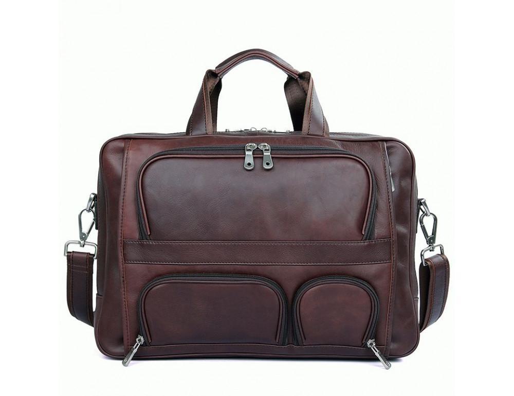 Мужская кожаная сумка на три секции TIDING BAG 7289X - Фото № 1