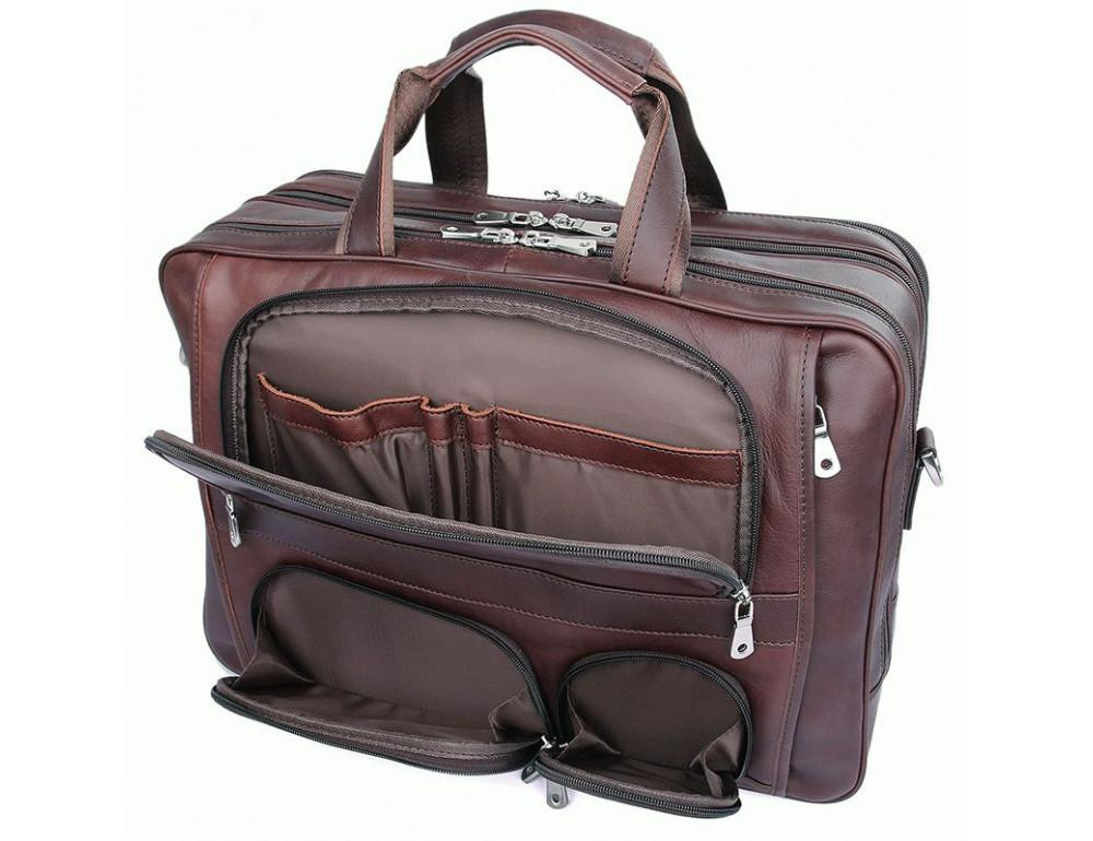 Мужская кожаная сумка на три секции TIDING BAG 7289X - Фото № 7