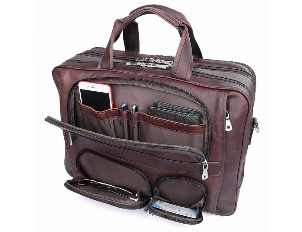 Мужская кожаная сумка на три секции TIDING BAG 7289X - Фото № 8