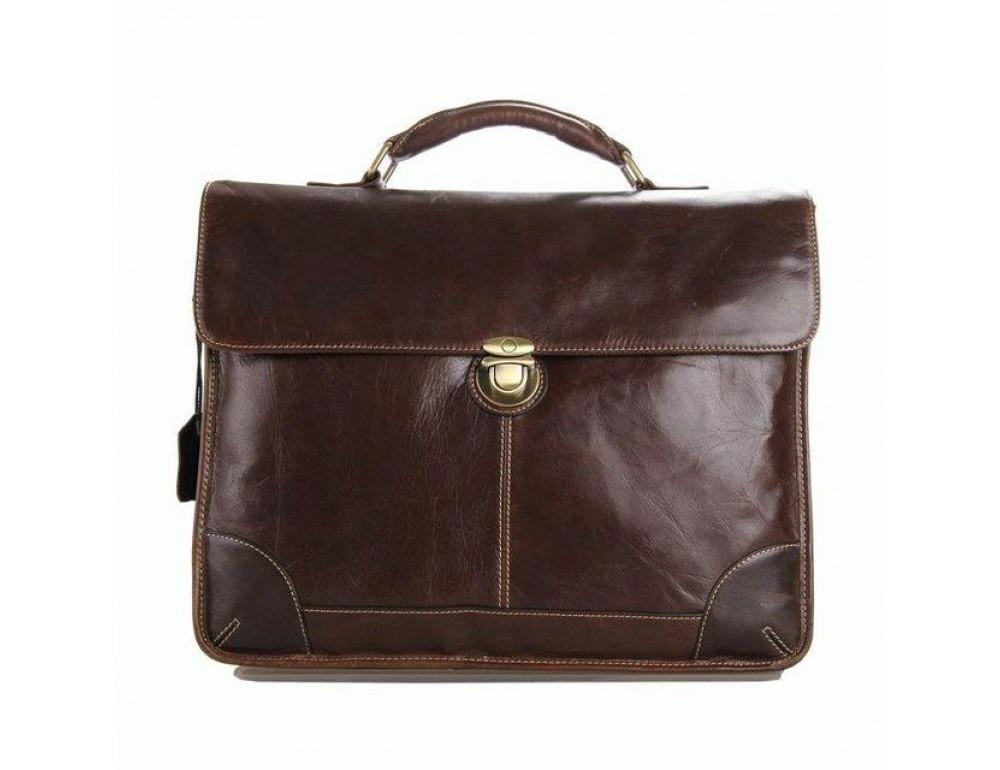 Коричневый большой кожаный портфель TIDING BAG 7091C - Фото № 4