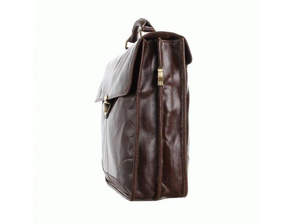 Коричневый большой кожаный портфель TIDING BAG 7091C - Фото № 5