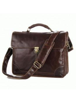 Коричневый большой кожаный портфель TIDING BAG 7091C
