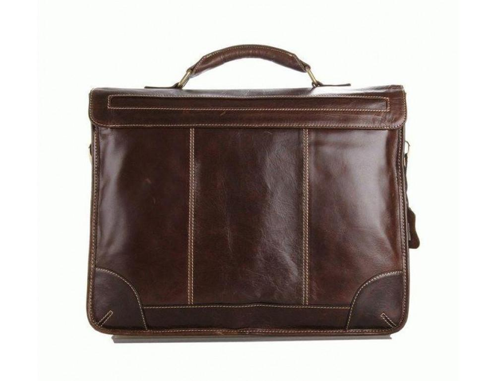 Коричневый большой кожаный портфель TIDING BAG 7091C - Фото № 6