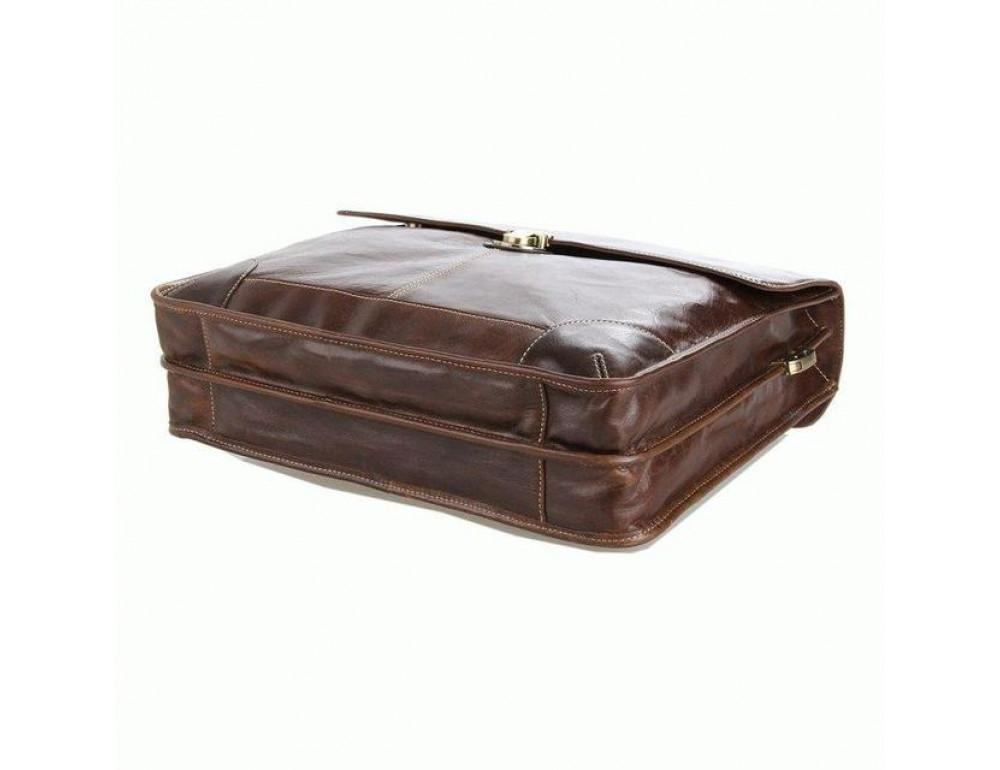 Коричневый большой кожаный портфель TIDING BAG 7091C - Фото № 7