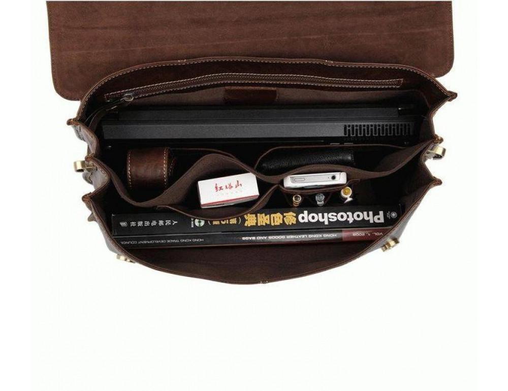 Коричневый большой кожаный портфель TIDING BAG 7091C - Фото № 2
