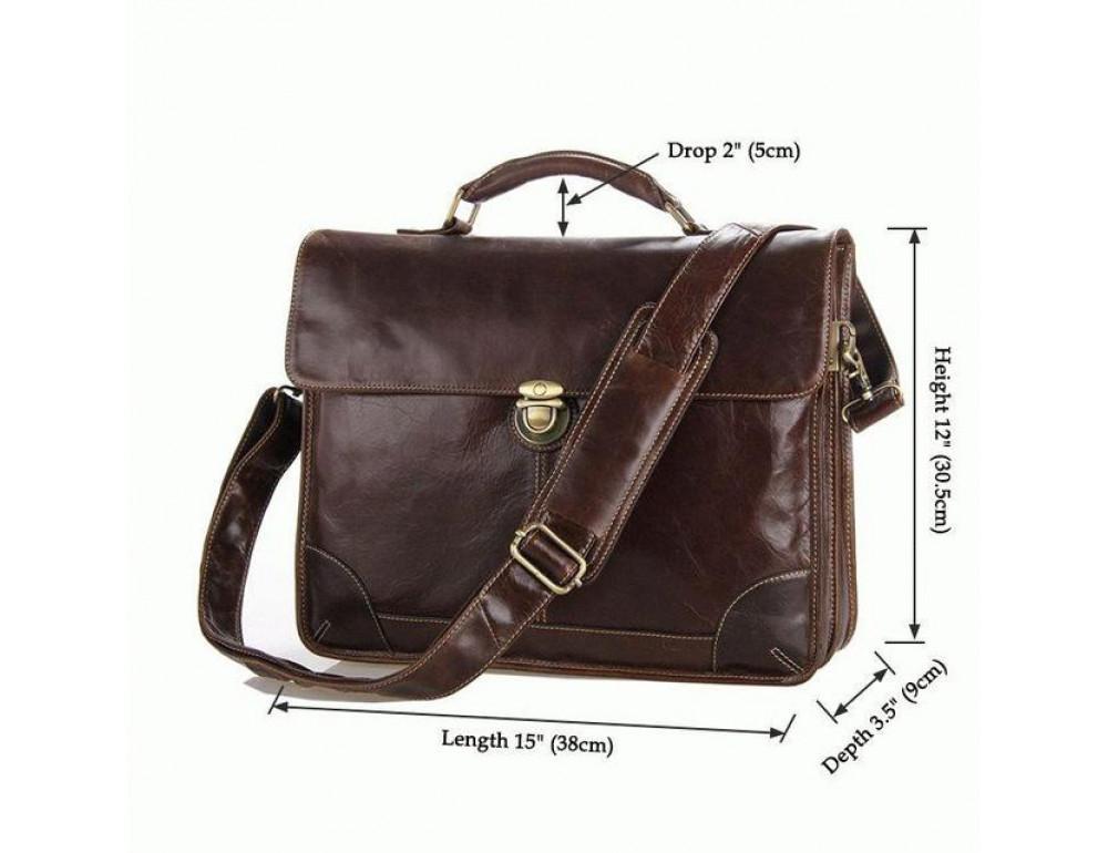 Коричневый большой кожаный портфель TIDING BAG 7091C - Фото № 3