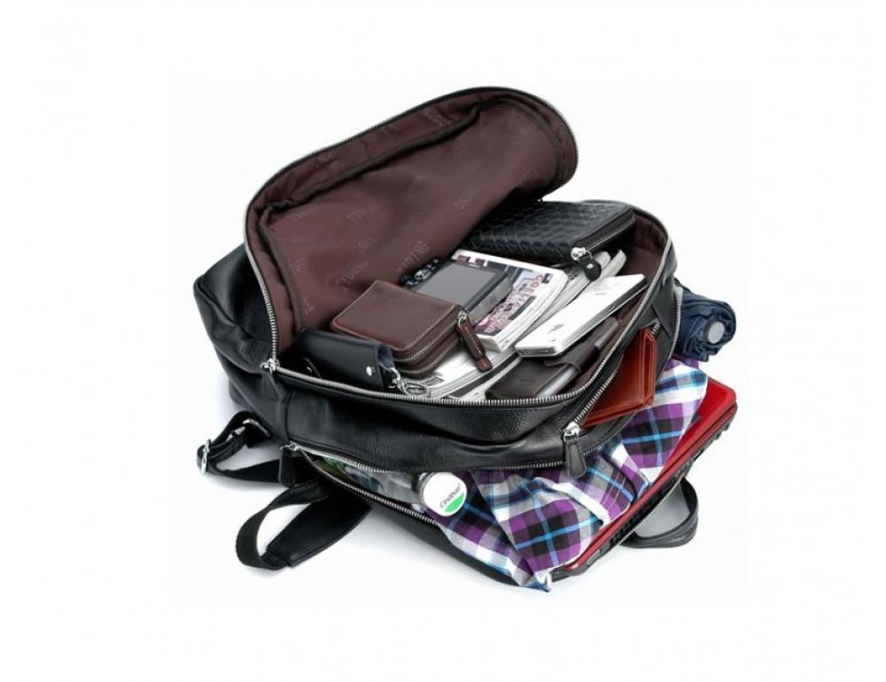 Чоловічий шкіряний рюкзак TIDING BAG T3064 чорний - Фотографія № 2