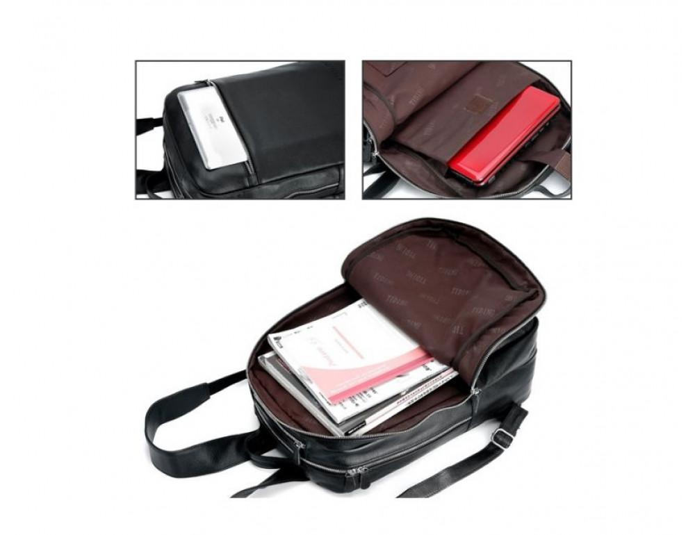 Чоловічий шкіряний рюкзак TIDING BAG T3064 чорний - Фотографія № 3
