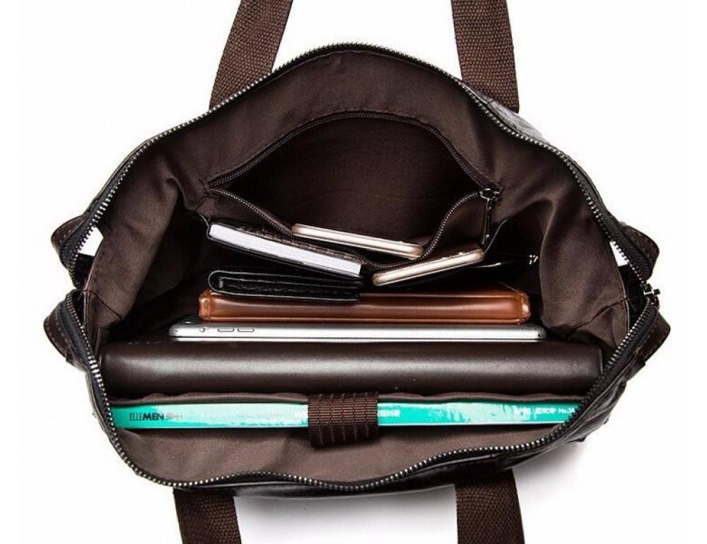 Кожаная сумка под ноутбук (macbook) JASPER MAINE 7120C-2  - Фото № 5