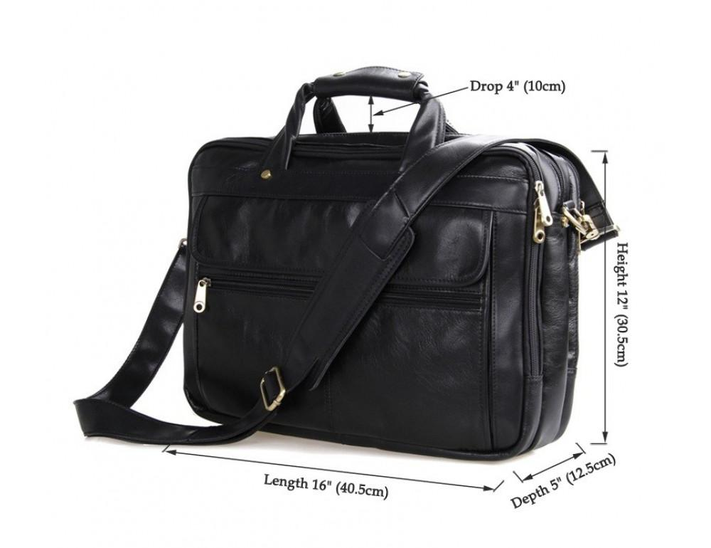 Чёрная кожаная сумка с тремя отделениями  JASPER&MAINE 7146A чёрный - Фото № 10