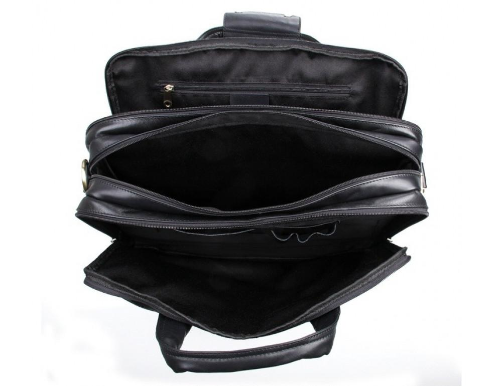 Чёрная кожаная сумка с тремя отделениями  JASPER&MAINE 7146A чёрный - Фото № 3
