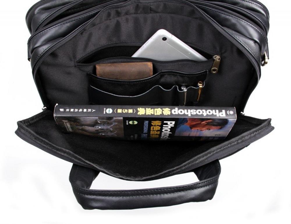 Чёрная кожаная сумка с тремя отделениями  JASPER&MAINE 7146A чёрный - Фото № 4