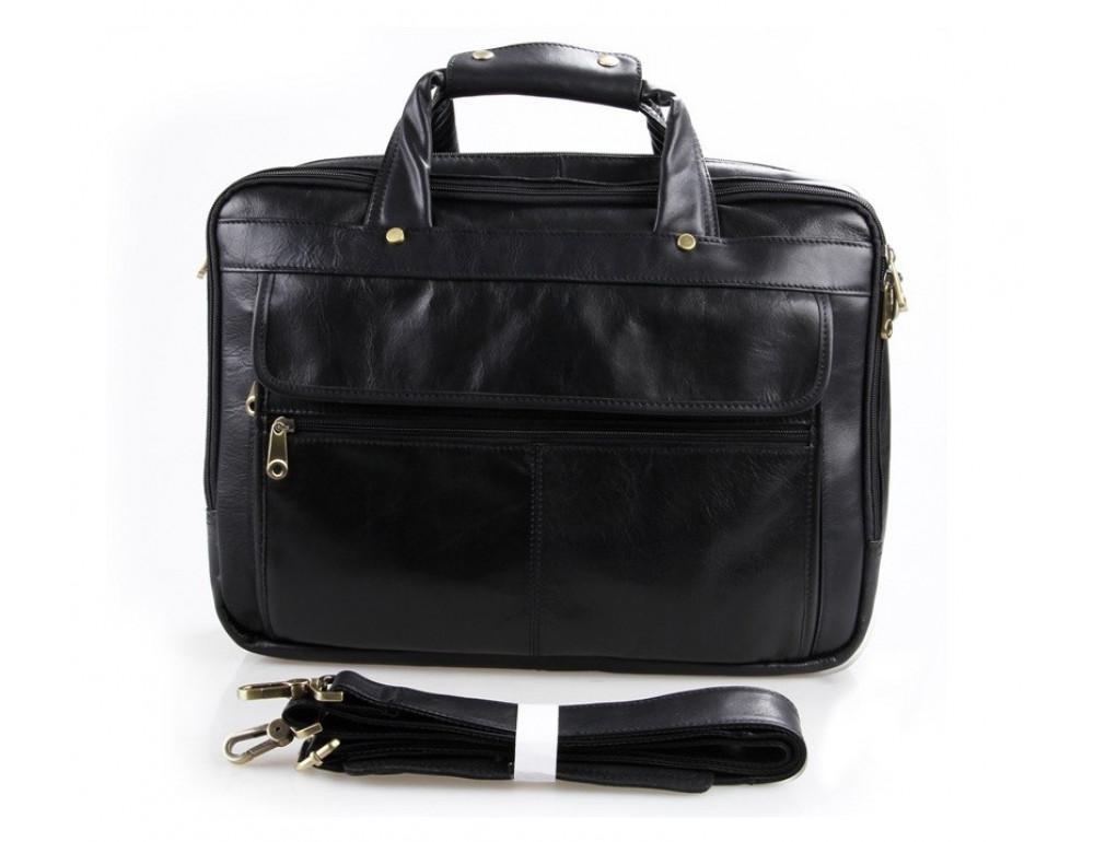 Чёрная кожаная сумка с тремя отделениями  JASPER&MAINE 7146A чёрный - Фото № 6