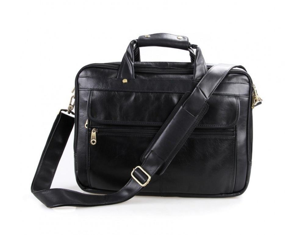 Чёрная кожаная сумка с тремя отделениями  JASPER&MAINE 7146A чёрный - Фото № 7