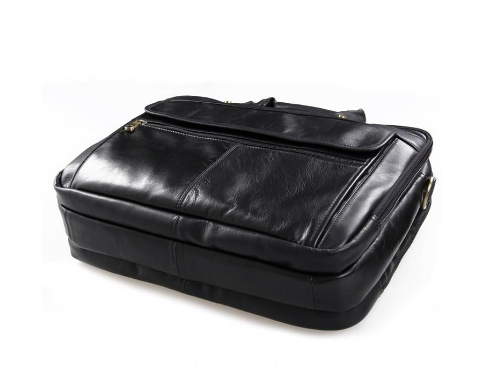 Чёрная кожаная сумка с тремя отделениями  JASPER&MAINE 7146A чёрный - Фото № 8