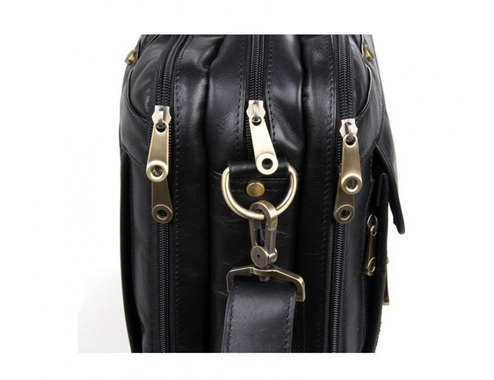 Чёрная кожаная сумка с тремя отделениями  JASPER&MAINE 7146A чёрный - Фото № 5