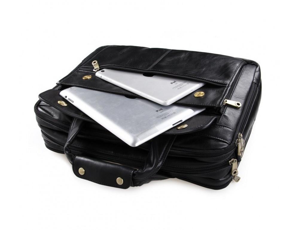 Чёрная кожаная сумка с тремя отделениями  JASPER&MAINE 7146A чёрный - Фото № 9