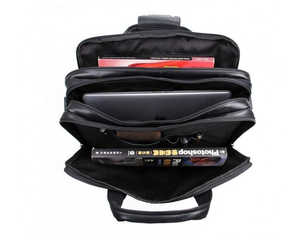 Чёрная кожаная сумка с тремя отделениями  JASPER&MAINE 7146A чёрный - Фото № 2