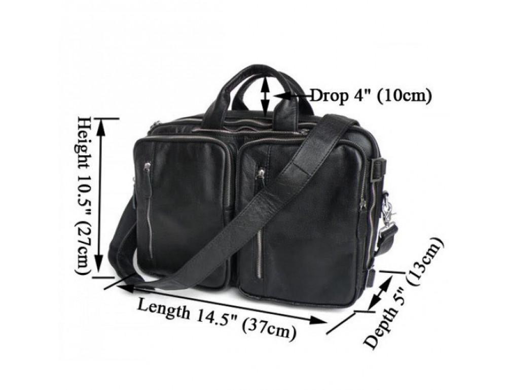 Мужская кожаная сумка - рюкзак JASPER-MAINE 7014A - Фото № 3