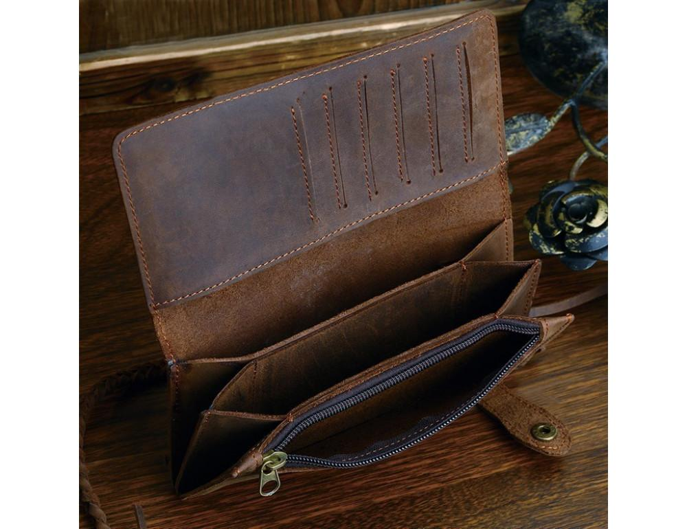 Вінтажний чоловічий гаманець TIDING BAG 8031R коричневий - Фотографія № 2