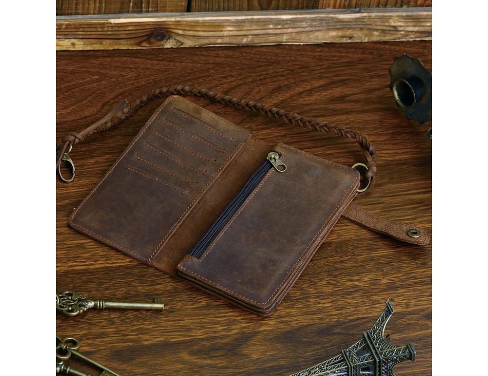 Вінтажний чоловічий гаманець TIDING BAG 8031R коричневий - Фотографія № 5