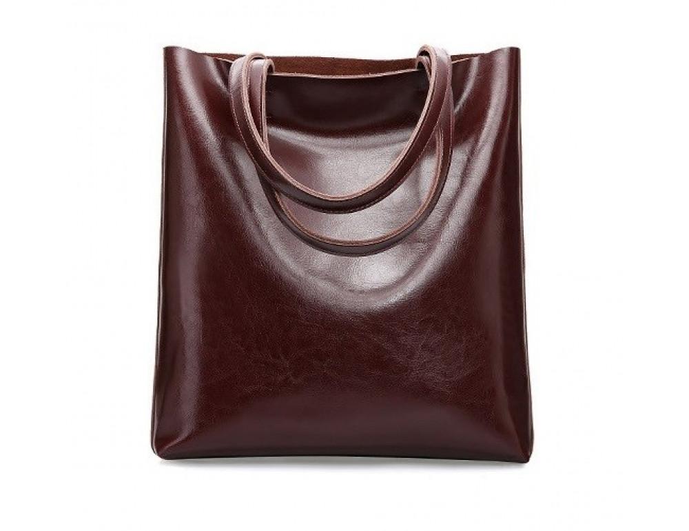 Містка шкіряна жіноча сумка GRAYS GR-2002B шоколад
