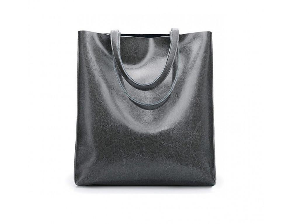 Містка шкіряна жіноча сумка GRAYS GR-2002G сіра