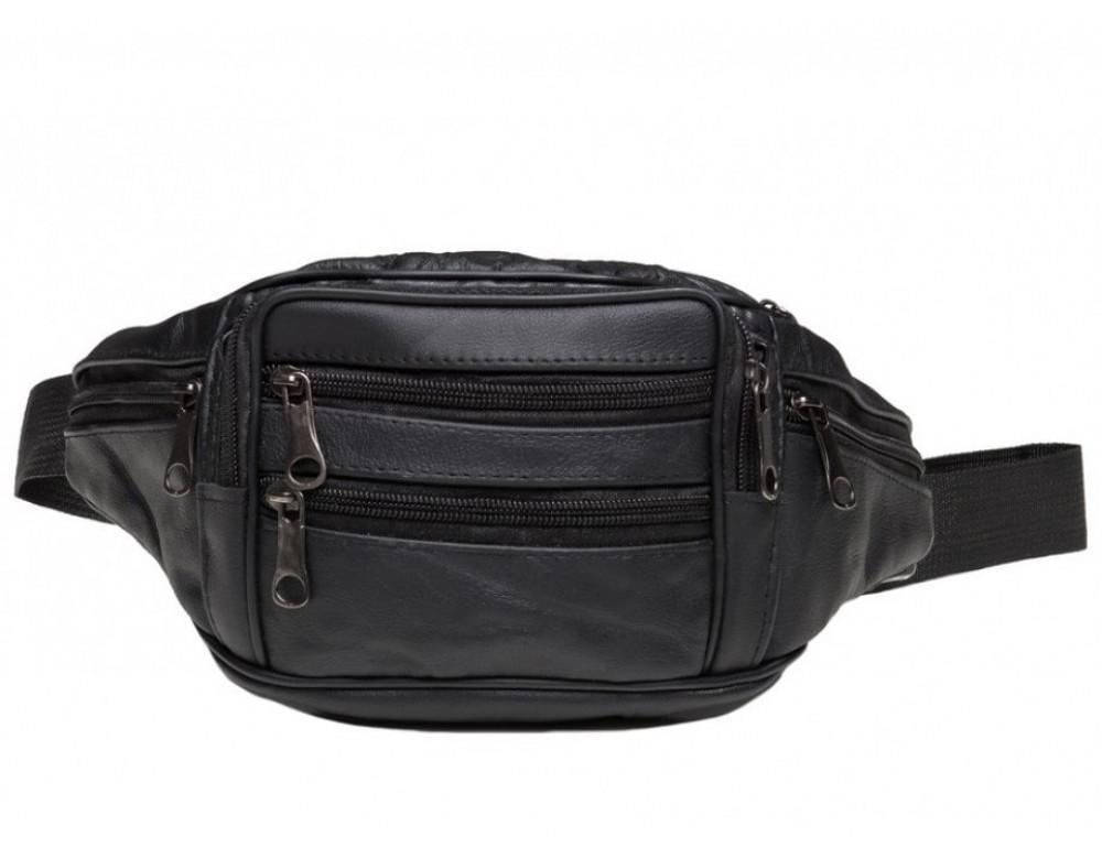 Кожаная сумка на пояс TIDING BAG A25-982A Чёрная