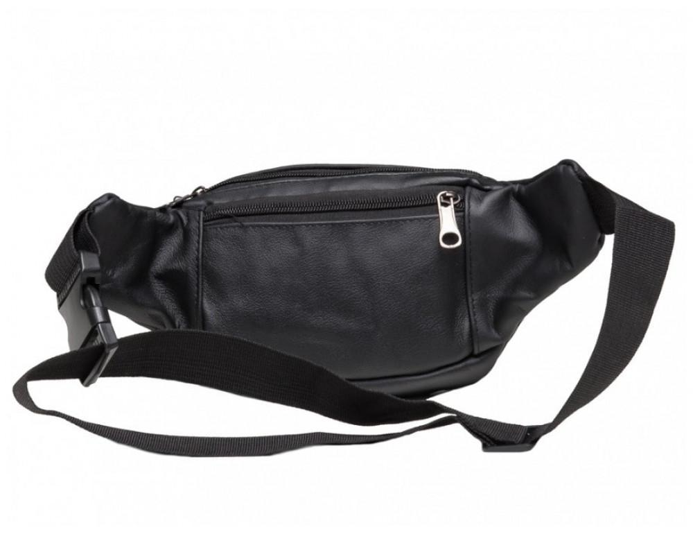 Кожаная сумка на пояс TIDING BAG A25-982A Чёрная - Фото № 2