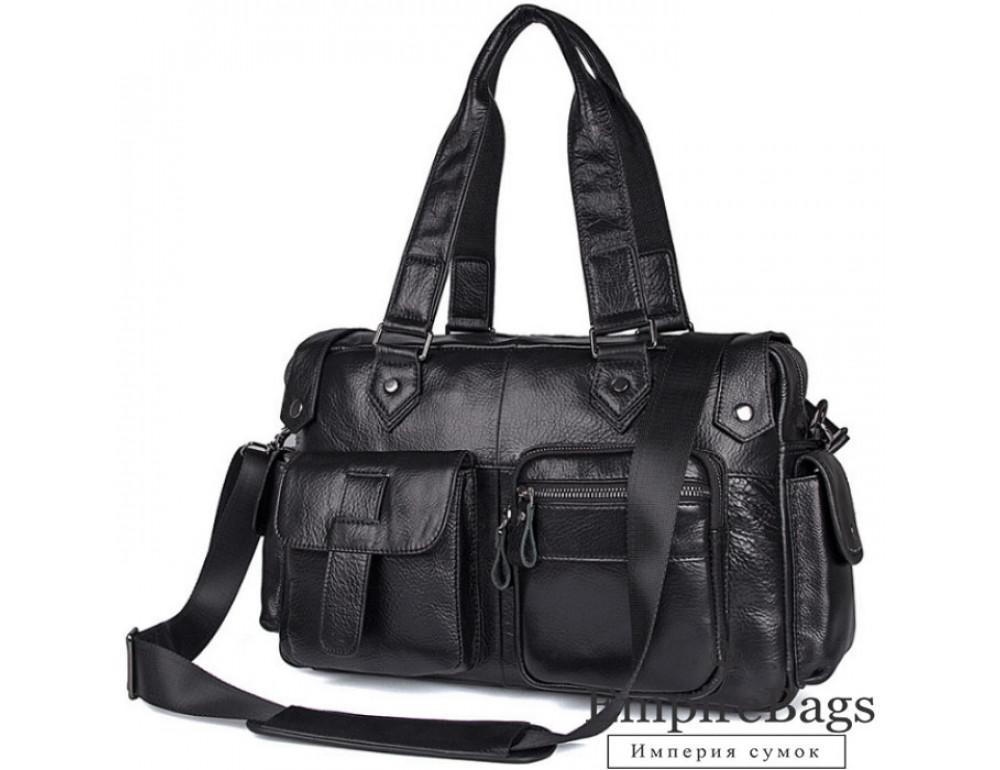 Мужская кожаная сумка TIDING BAG 8400A чёрная