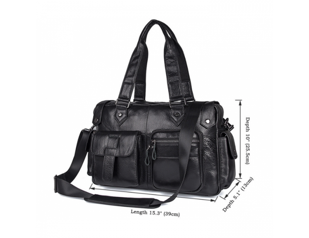 Мужская кожаная сумка TIDING BAG 8400A чёрная - Фото № 2