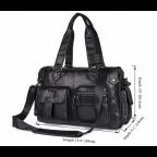 Мужская кожаная сумка TIDING BAG 8400A чёрная - Фото № 101